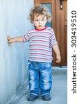 portrait of 1 year old baby boy ...   Shutterstock . vector #303419510