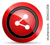 share red glossy web icon   | Shutterstock . vector #303421358