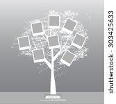 hand drawn oak tree. family... | Shutterstock .eps vector #303425633