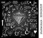 a set of chalkboard style... | Shutterstock .eps vector #303426539