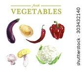 set of watercolor fresh... | Shutterstock . vector #303432140