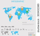 world map illustration with... | Shutterstock .eps vector #303432380