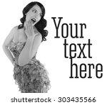 retro black and white portrait... | Shutterstock . vector #303435566