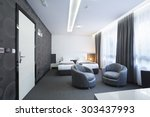 Stock photo interior of a hotel room 303437993