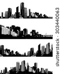 set of black and white panorama ... | Shutterstock .eps vector #303440063