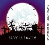 halloween background with blue... | Shutterstock .eps vector #303440243