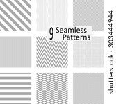 9 seamless striped patterns.... | Shutterstock .eps vector #303444944