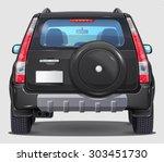 Suv Black Car   Rear View