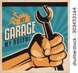 retro poster design for auto... | Shutterstock .eps vector #303453164