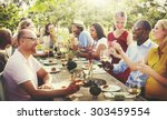 friends outdoors nature picnic... | Shutterstock . vector #303459554