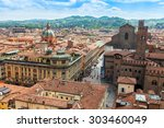 BOLOGNA, ITALY, on MAY 2, 2015. The top view on the old city