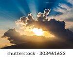Golden Rays Of The Sun Through...