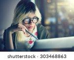 woman laptop working planning... | Shutterstock . vector #303468863