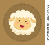 cute sheep smiling in brown... | Shutterstock .eps vector #303469739