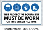mandatory signs at construction ... | Shutterstock .eps vector #303470996