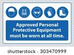 mandatory signs at construction ... | Shutterstock .eps vector #303470999