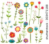 colorful cartoon wild flowers... | Shutterstock .eps vector #303471188