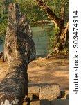 Small photo of Naga serpent statue at the Royal reservoir of Sra Srang, Cambodia