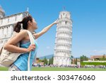 happy woman travel in italy ... | Shutterstock . vector #303476060