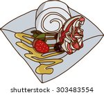 roll cake with vanilla cream on ...   Shutterstock .eps vector #303483554