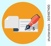 vector bank check icon | Shutterstock .eps vector #303487400