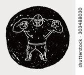 mexican wrestler doodle | Shutterstock . vector #303488030