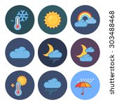 9 flat modern weather icons | Shutterstock .eps vector #303488468