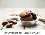 chocolate cookies on wooden   Shutterstock . vector #303489164