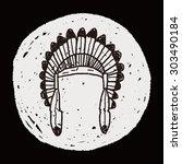 indians hat doodle | Shutterstock . vector #303490184