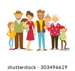 family portrait at the simple... | Shutterstock .eps vector #303496619