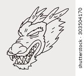 chinese dragon doodle | Shutterstock . vector #303504170