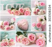 Collage With Romantic Roses An...