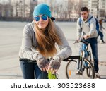 beautiful young  woman and... | Shutterstock . vector #303523688