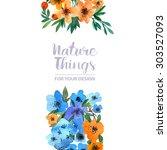 beautiful floral set flowers... | Shutterstock . vector #303527093