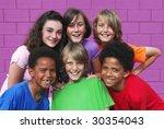 happy group kids | Shutterstock . vector #30354043