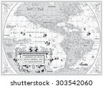 vector old map of south and... | Shutterstock .eps vector #303542060