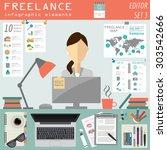 freelance infographic template. ... | Shutterstock .eps vector #303542666