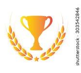 laurel wreath and trophy cup.... | Shutterstock . vector #303542846