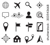 map and location icons set on... | Shutterstock . vector #303543668