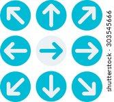 arrow icon or sign set. circle...