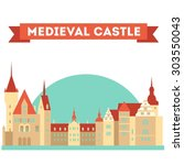 vector color medieval castle in ... | Shutterstock .eps vector #303550043