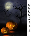 frightening halloween pumpkins... | Shutterstock . vector #303551969