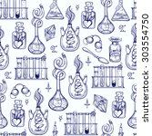 seamless pattern of alchemy... | Shutterstock .eps vector #303554750