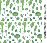 vector hand drawn greens... | Shutterstock .eps vector #303563228
