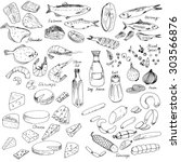 Meat  Fish And Cheese  Vector...