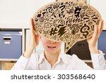 business woman in an office... | Shutterstock . vector #303568640