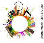 school accessories placed on... | Shutterstock . vector #303577280