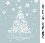 xmas greeting with paper... | Shutterstock . vector #303596600