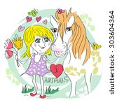 vector girl and horse together... | Shutterstock .eps vector #303604364