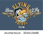 born to fly cute eagle aviator  ... | Shutterstock .eps vector #303613688